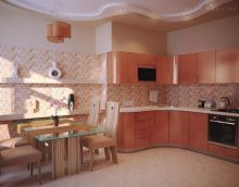Peach color in the interior of the kitchen